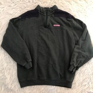 Vineyard Vines Green & Navy 1/4 Zip Sweatshirt